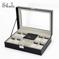 Skute 2 In One 8 Grids+3 Mixed Grids PU Leather Watch Box Storage Organizer Box Luxury Jewelry Necklace Ring Watch Display Case