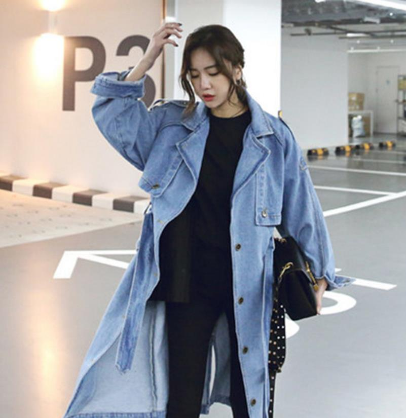 2019 New Arrival   Trench   Coat Women Loose Denim   Trench   Coat Female Long Single-breasted Outwears