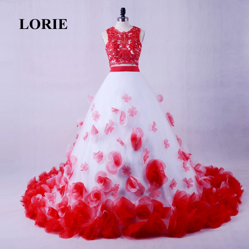 Red And White Lace Wedding Dress: LORIE White And Red Wedding Dress Sewn With Flowers Ball