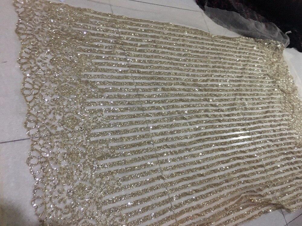 Oro di alta qualità francese di tulle tessuto di pizzo paillettes Africano del merletto netto tessuto glitter per la donna abito da sposa BZL 95125-in Tessuto da Casa e giardino su  Gruppo 2