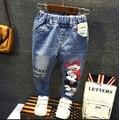 2016 весна осень девушка минни джинсы брюки для девочек джинсовые брюки девушки жан брюки печать с отверстием ретро винтажный стиль