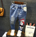 2016 spring autumn Girl Minnie Jeans Pants for Girls denim trousers Girl's Jean Pants Duck Print with hole Retro vintage style