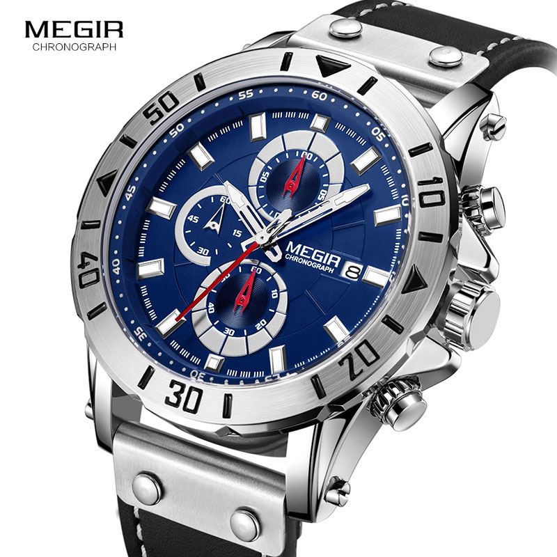 <font><b>Megir</b></font> Mens Watches <font><b>2018</b></font> Top Brand Luxury Chronograph Leather Sports Military Wrist Watch Man Relogios Masculino Relojes 2081Blue image