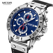 Megir Mens Watches 2018 Top Brand Luxury Chronograph Leather Sports Military Wrist Watch Man Relogios Masculino Relojes 2081Blue цена и фото