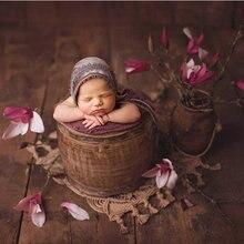 Yenidoğan makrome fotoğraf sahne, el dokuması jüt sepet battaniye, bebek fotoğrafçılığı sahne