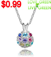 free shipping top quality design Wholesale AAA+ Czechrhinestone Crystal Ball pendant Necklace Sweater chain cute fashion jewelry