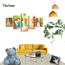Cartoon Girl Canvas  Inset Wall Art Home Decor For Living Room Modern Decorative Pictures 5 Pieces Posters And Prints Painting