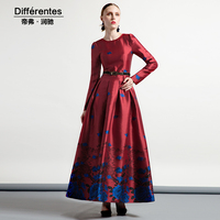 2018 new women's clothing fashion spring and autumn dresses ladies slim long sleeve jacquard elegant temperament long dress