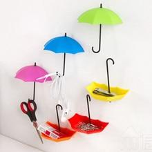 9Pcs/lot Wall Door Hook Umbrella Shape Cute Creative Self Adhesive Hanger Bag Keys Bathroom Kitchen Sticky Coat Clothes Holder(China (Mainland))