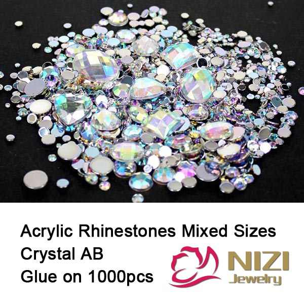 Rhinestones Crystal AB 1000pcs Mix Colors Round Acrylic Non-Hotfix Flat Back Rhinestones Nail Art Stones For Strass Decorations