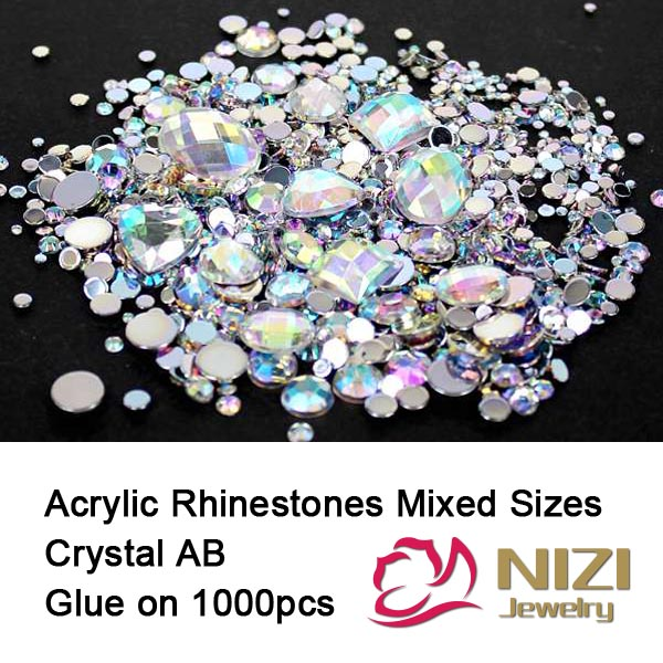 Rhinestones Crystal AB 1000pcs Mix Colors Round Acrylic Non-Hotfix Flat Back Rhinestones Nail Art Stones For Strass Decorations nail tool glass flat back nail art crystal ab glue on non hotfix rhinestones for nails diy nail accessori decorations