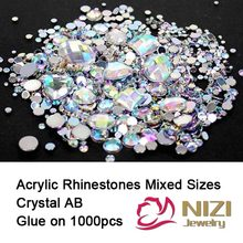 Rhinestones Crystal AB 1000pcs Mix Colors Round Acrylic Non-Hotfix Flat Back Rhinestones Nail Art Stones For Strass Decorations(Hong Kong,China)