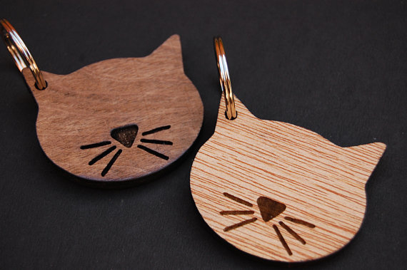 Cat Keyring Lover Gift Birthday Unique Idea Wooden Etched Laser Engraved Simple