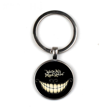 Fashion Alice Adventures in Wonderland keychain Cheshire Cat  Glass Cabochon Were All Mad Here gift
