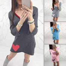 2018 New Women Spring Chic Splicing Casual Dress Heart Pattern Sexy V-neck Slim Mini Shift Dress Female Holiday Clothing