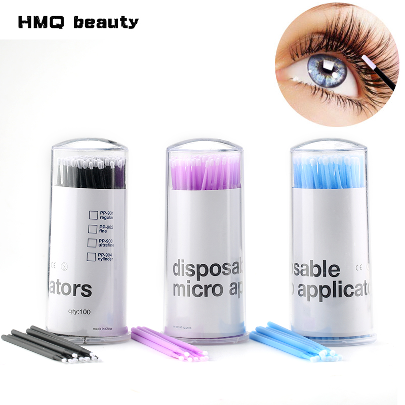 HMQ beauty 100Pcs/pack Durable Disposable Individual Lash Removing Swab Micro brushes