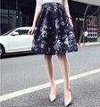2016 Лето новый стиль органзы юбки мода темперамент печати высокая талия Короткая Юбка повседневная Британский женщина туту партия длинные