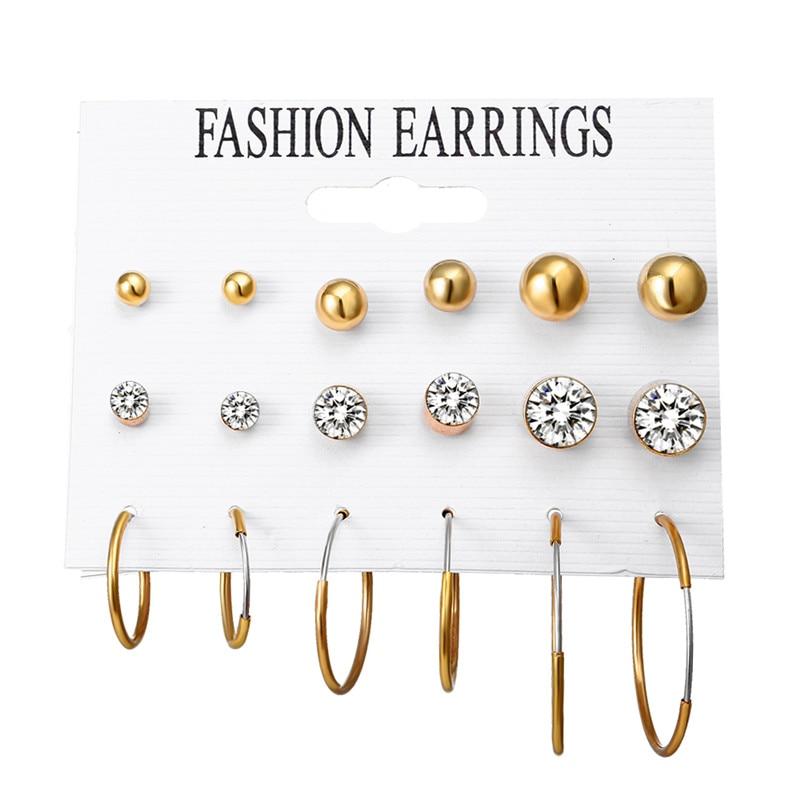 JIKA ANDA 6 Pairs / Set Mode Trendy Putaran Warna Emas Batu Punk Stud - Perhiasan fashion - Foto 6