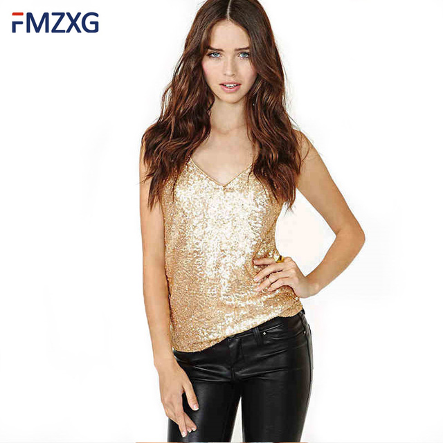 2018 Summer Sexy Gold Sequins Plus Size T-Shirts Woman V-Neck Sleeveless  Crop Tops Tees Female Casual Golden Club Party Tank Top 720598928b23