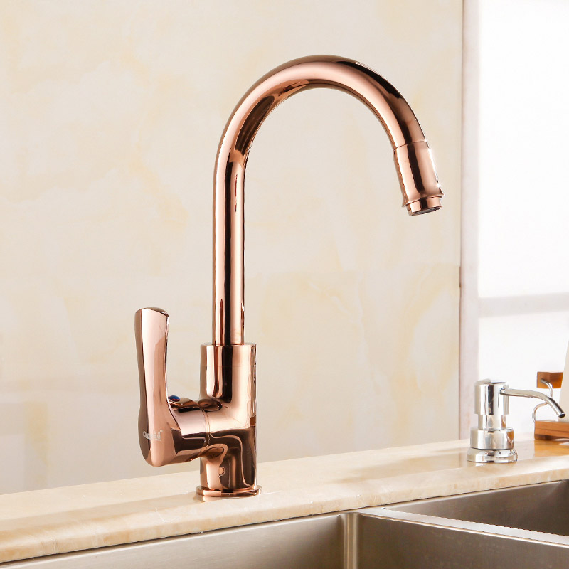 European style golden kitchen faucet, dish basin faucet, copper hot and cold single hole rose gold tank faucet