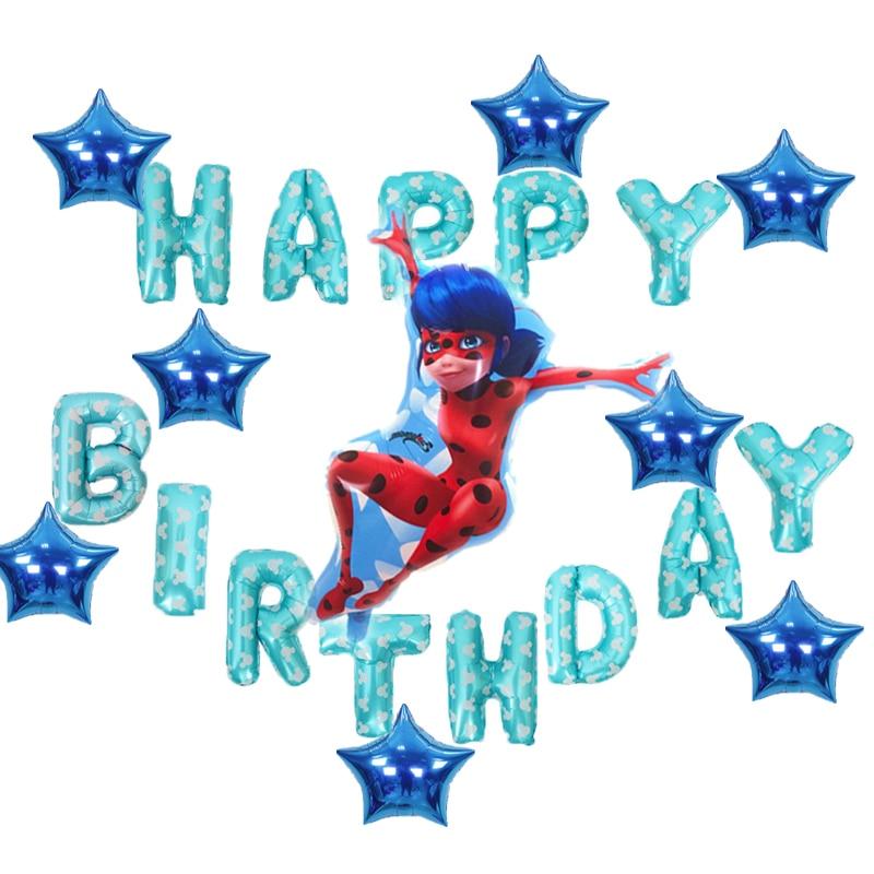 22pcs Miraculous Ladybug Party Decor Birthday Foil Balloons Air