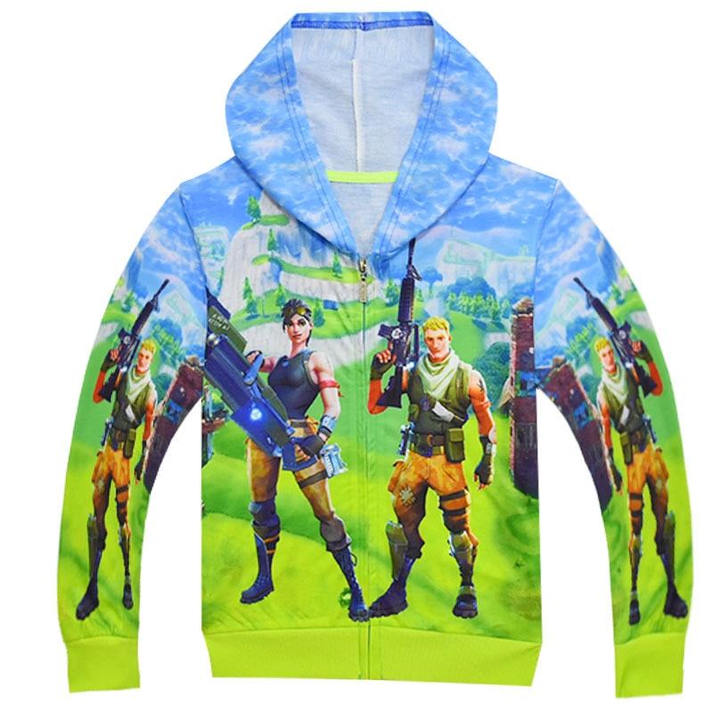 Cartoon FfortnitedCosplay Boys Costumes Coat Girl Sweatshirt Boys Hoodies Kids Jacket FfortnitedCosplay Zipper Outerwear