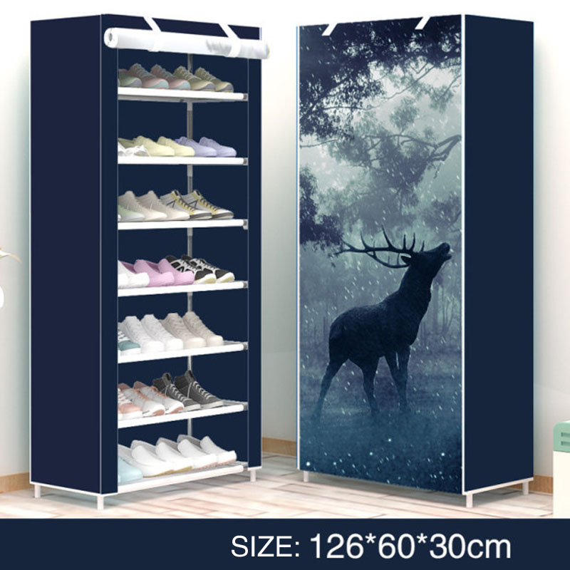 Shoe rack modern style Elk delicate print Deformable Multi Layer Nonwovens Easy Assemble Shelf Shoe cabinet for Doorway fresh style stand collar elk print fleeced pullover sweatshirt for women