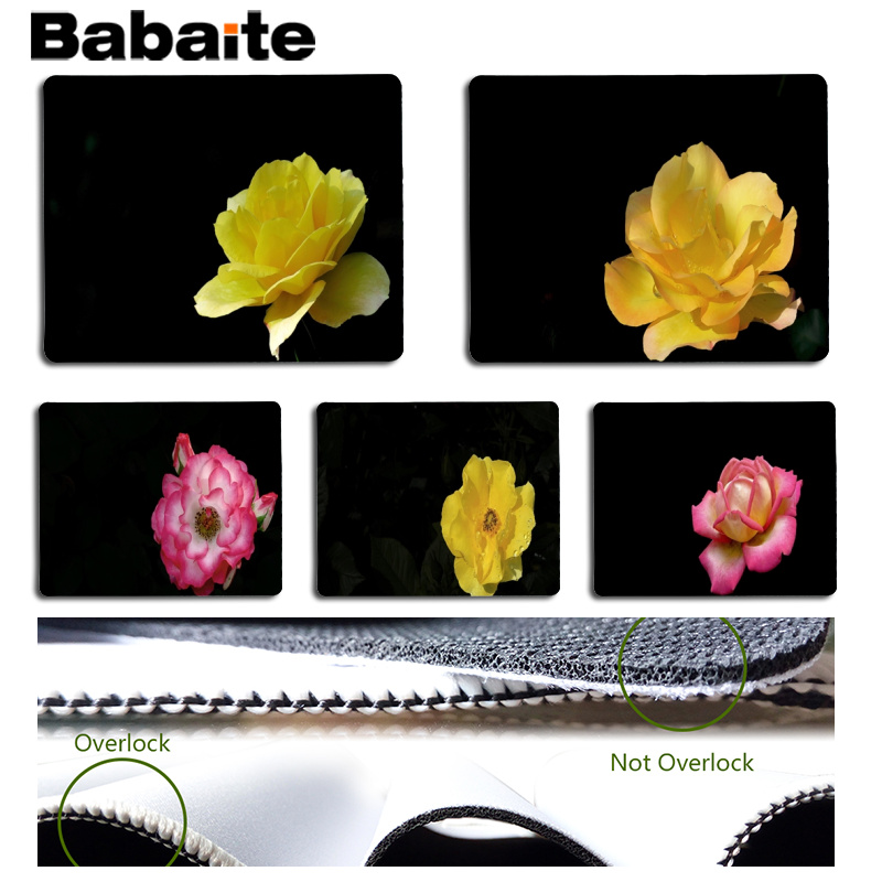 Babaite My Favorite Black background and flowers gamer play mats Mousepad Size for 18x22 ...