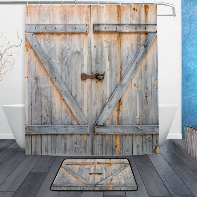 Retro Vintage Wooden Wood Shower Curtain And Mat Set Barn Door Waterproof Fabric Bathroom