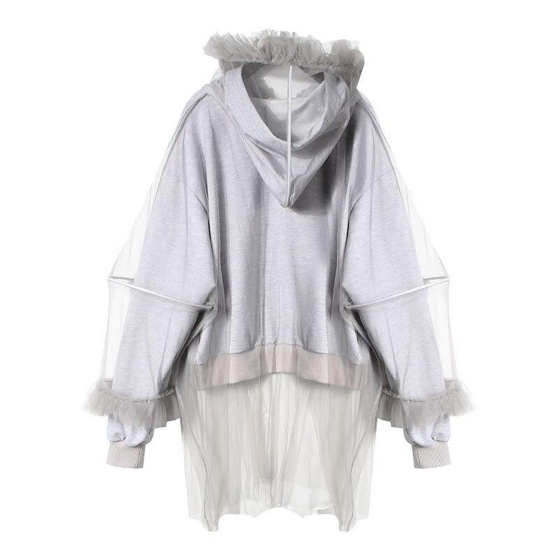 Solid Feminino Patchwork New 2019 Mesh Women Winter Grey Hoodies Zipper Sweatshirt Long Neploe Hooded Moletom 68550 Sleeve RZwZE