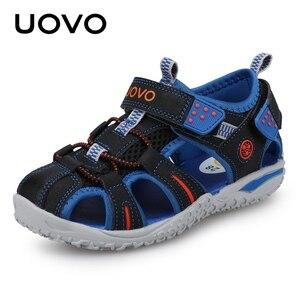 Image 1 - UOVO جديد وصول 2020 الصيف صنادل شاطئ الاطفال مغلق تو طفل الصنادل الأطفال موضة أحذية مصممين للبنين #24 38