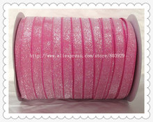 50yards lot Non stretch 1 5 Frosted Garden Rose Glitter Ribbon