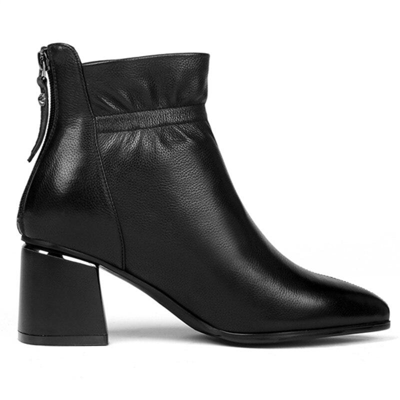 Grande Cheville Taille Hauts Court Dames À Chaussures Bottes Souple Chaussons Automne Réel Talons Off Boots Plus En White Blanc Bloc Boots Épaisse black 42 Femme Cuir RqXnx0X18w