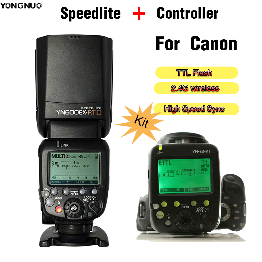 YONGNUO YN600EX-RT II YN600EX RT II + YN-E3-RT Controller For Canon Flash Speedlite Wireless TTL Flash Speedlite Hot shoe flash yongnuo yn468 ii ttl flash speedlite with lcd display for canon