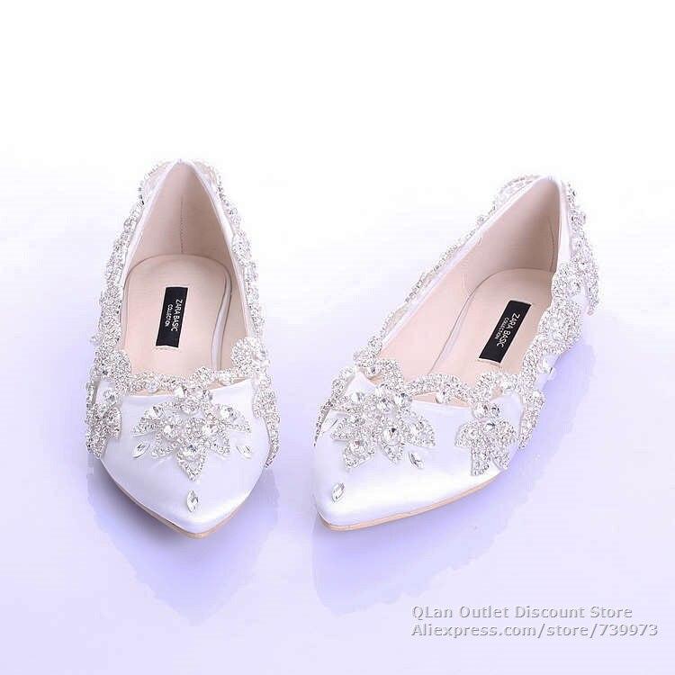 2015 nueva boda blanco zapatos sin tacones con los rhinestones