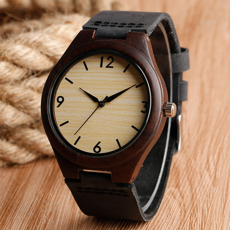 Prix pour 2016 Creative Cadeau En Bois Femmes Hommes Montre-Bracelet Ébène Nature Véritable En Cuir De Luxe Japon Mouvement Sport Bambou Bracelet Horloge