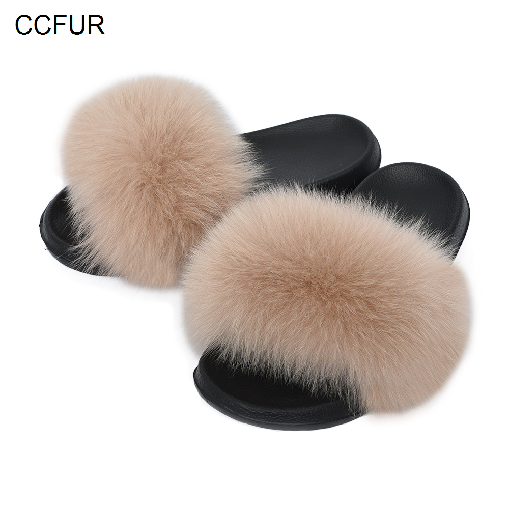 CCFUR Women's Furry Slippers Ladies Cute Real Fox Fur Hair Fluffy Slides Women's Genuine Fur Sliders Indoor S6043B(China)