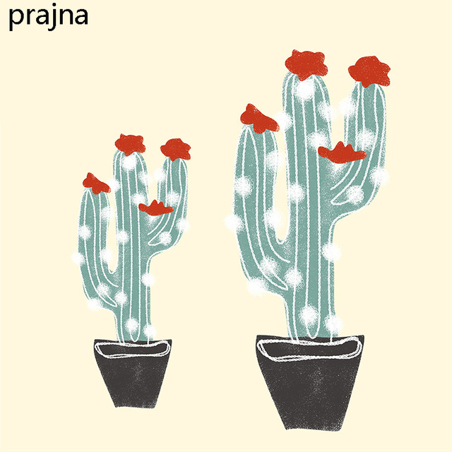 Prajna cactus iron on transfers for clothing fabric applique hot heat thermal transfer vinyl stickers badge
