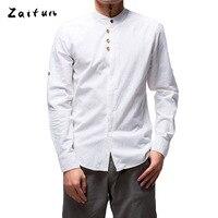 ZAITUN Summer Stylish Men Shirt Linen Cotton Long Sleeve Stand Collar Chinese Traditional Casual Social Luxury