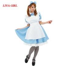 Liva chica Venta caliente Alicia en el país de las Maravillas traje vestido  Lolita Maid Cosplay fantasía carnaval disfraces de H.. c90f64ba43ad