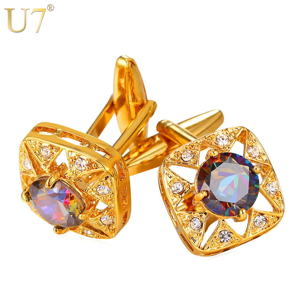 U7 Square Crystal Cufflinks Gold Color AAA Cubic