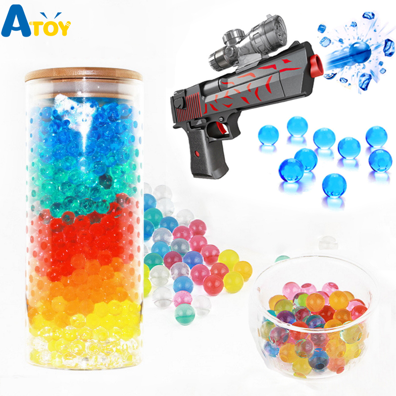 200pcs Colorful Soft Crystal Water Gun Bullet Grow Beads Hydrophilic Water Gun Toys Decroration Water Ball  Water Toys
