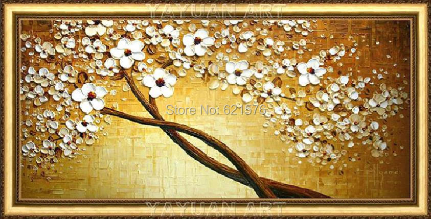 Hand painted home decor abstract golden brown white flower cherry ...