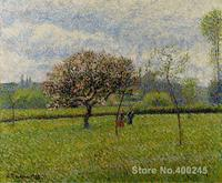Canvas Art Reproduction Flowering Apple Trees at Eragny Camille Pissarro Paintings for sale hand painted High quality