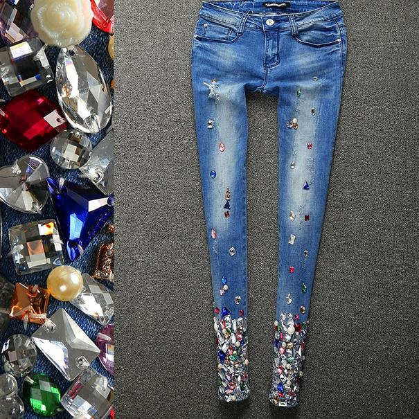 Nouveau jeans femmes déchiré denim skinny diamants strass jeans avec trous crayon stretch jeans