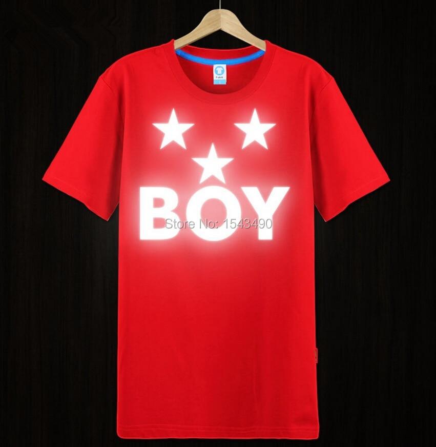 b12af40f1 Reflective Tshirt Men Five pointed star Boy London baseball shirt ...