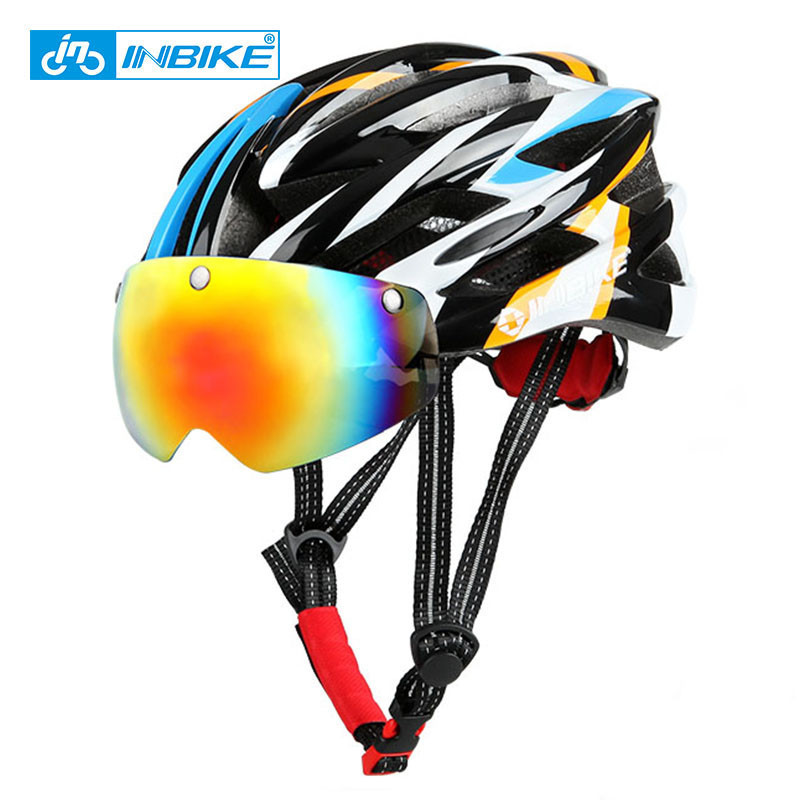 INBIKE Bike Bicycle Cycling Helmet With Glasses EPS Ultralight Integrally-molded Road MTB Capacete Ciclismo Casque Velo Route 1pcs bicycle fender with cycling glasses mtb mountain road bike mud guards fender front rear mudguard bike bicycle accessories