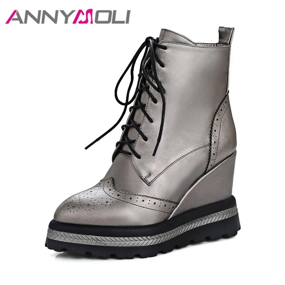 ANNYMOLI/зимняя обувь, женские ботильоны в стиле панк, на платформе, на танкетке, на каблуке, со шнуровкой, осень 2018, Прошитые короткие сапоги на в...
