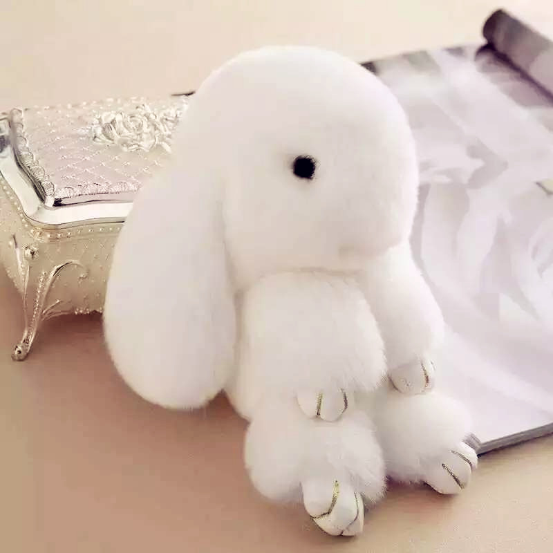 4800mAh Luxury Soft Real Rabbit Fur Power Bank Cartoon Rabbit Powerbank Portable Charger External Battery for All Mobile Phone