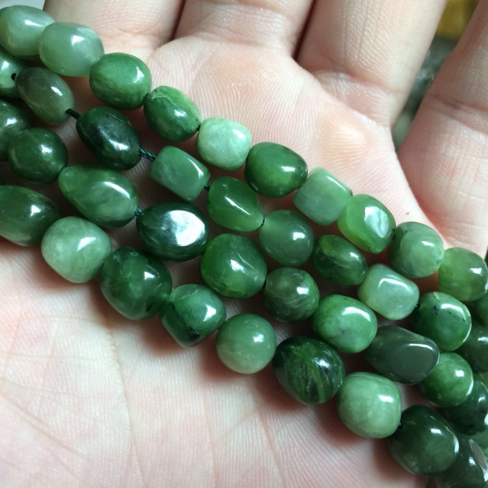 Natural Nephrite /canadian Jade Beads Natural Stone Bracelet DIY Loose Beads For Jewelry Making Strand 15